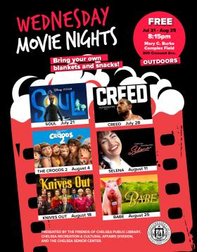 Wednesday Movie Nights! FREE Outdoors. 8:15pm, Jul 21-Aug 25. Mary C. Burke, Complex Field  300 Crescent Ave.