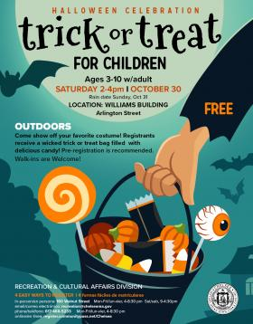 Outdoors Halloween Celebration for Children ages 3-10! FREE Saturday 2-4pm I October 30. LOCATION: Williams Building  Arlington
